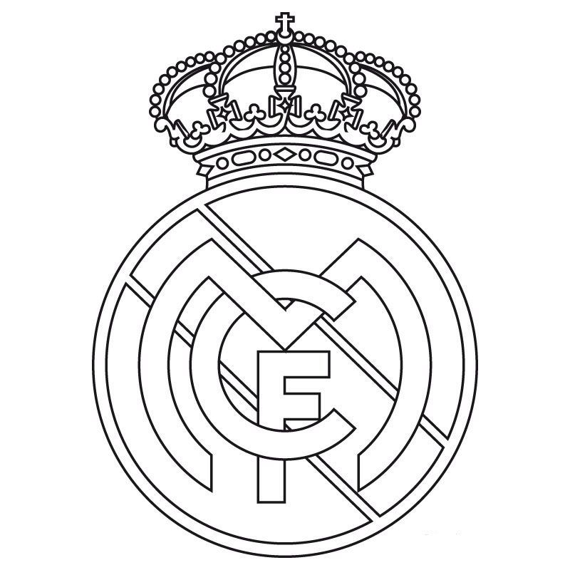 PARA IMPRIMIR O DESCARGAR REAL MADRID  COLOREAR ESCUDO DEL REAL MADRID